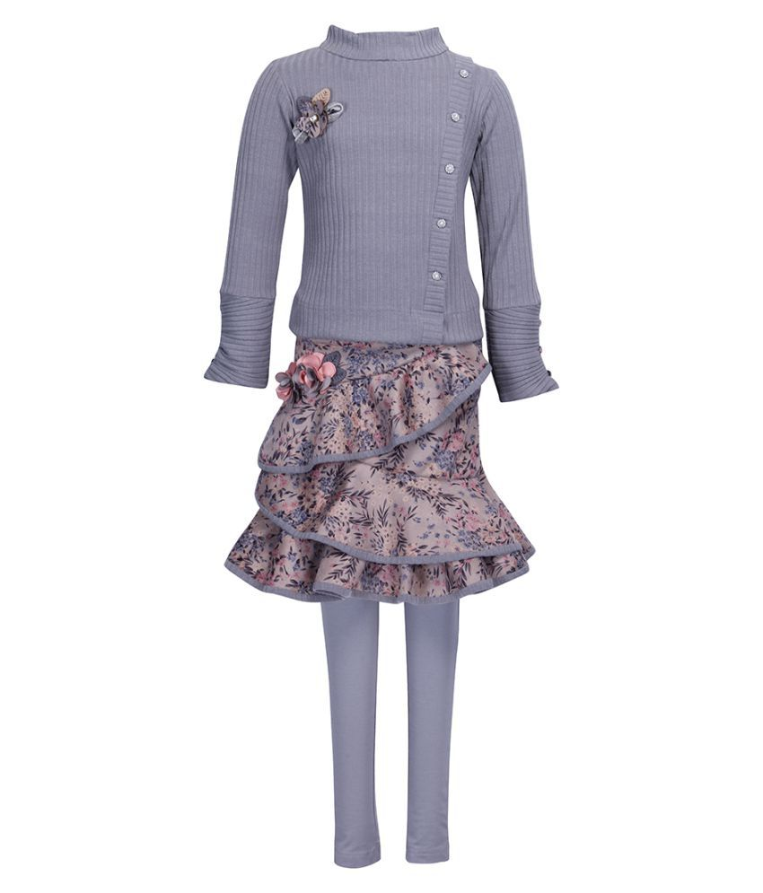 Cutecumber Girls Partywear Knit Fabric Top with Suede Fabric Skirt & Leggings