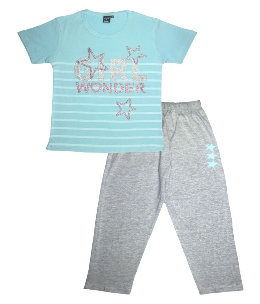 Todd N Teen Girls Cotton, Round Neck, Nightwear, Casualwear, Dailywear, Tshirt With Pant 5-6  Years