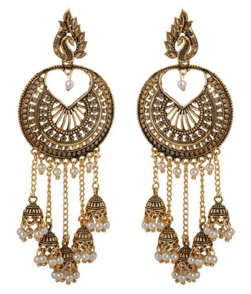Silver Shine Beautiful Golden Round Peacock Jhumki Dangler  Earrings for Women