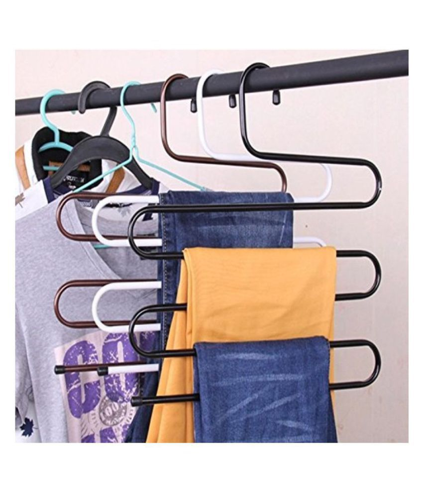 FORE TREND Iron Stainless Steel s Multi-Layered Pants Rack Pants Hanger Set of 3