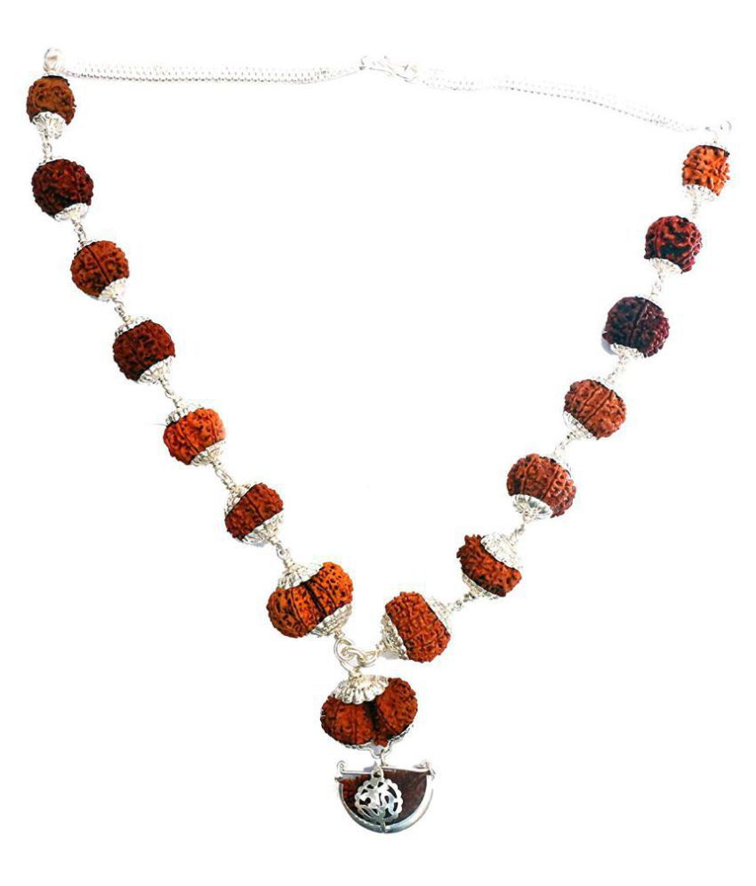 RUDRADIVINE Silver Brown 1 to 14 Mukhi Rudraksha Beads with Gauri Shankar Siddha Kantha Mala with Silver Cap