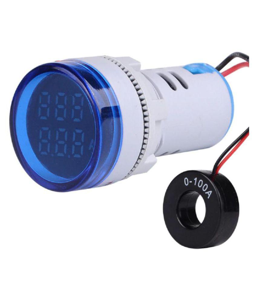 Voltmeter Ammeter AC 50-500V 0-100A Dual LED Indicator Light 22 mm (Blue)