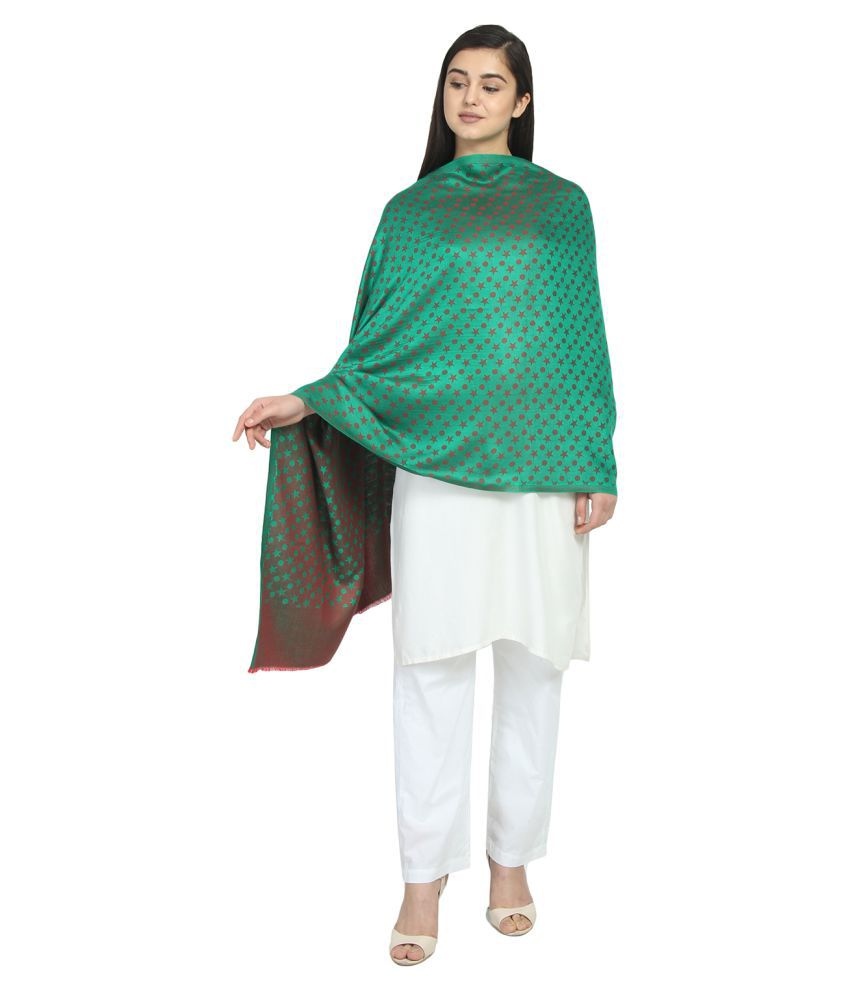 Anekaant Green Polka Dotted Shawl