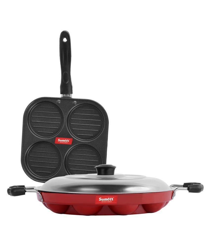 Sumeet Red Royal Nonstick 3 Piece Cookware Set