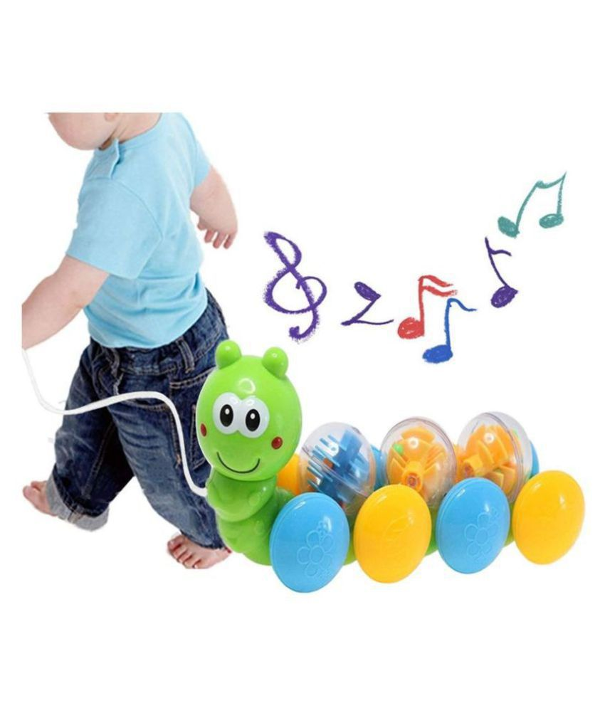 Allamwar Rolling Draw and Drag Worm Pull Along Toys for Kids Funny Worm Musical Toy for Babies with 180 Degrees Rotate and Make a Sound