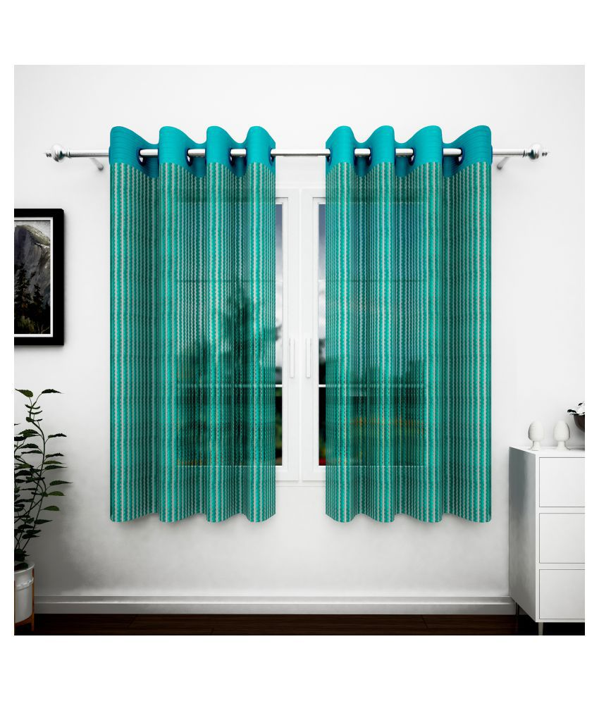Story@Home Set of 2 Window Transparent Eyelet Polyester Curtains Blue