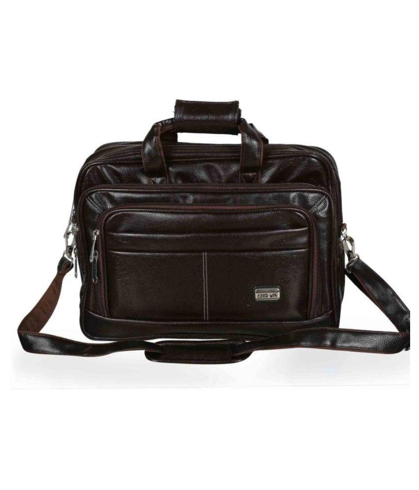Goodwin Brown P.U Leather Office Laptop Bag With String 15 Inch/Side Bag Cross Bag Men Man Side Bag Gents Bag Men Side Bag One Side Bag Men Carry Bag Men