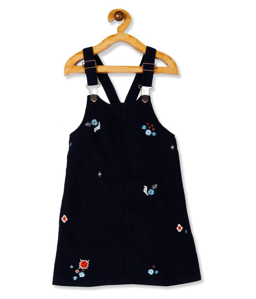 Blue Girls Embroidered Corduroy Dungarees