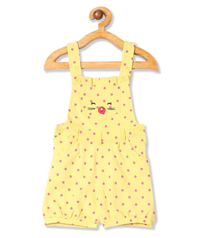 Girls Polka Print Knit Dungaree