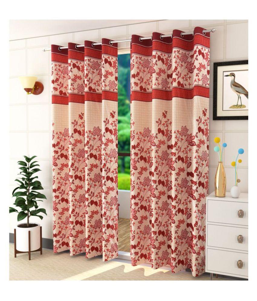 Homefab India Set of 2 Long Door Semi-Transparent Eyelet Polyester Curtains Maroon