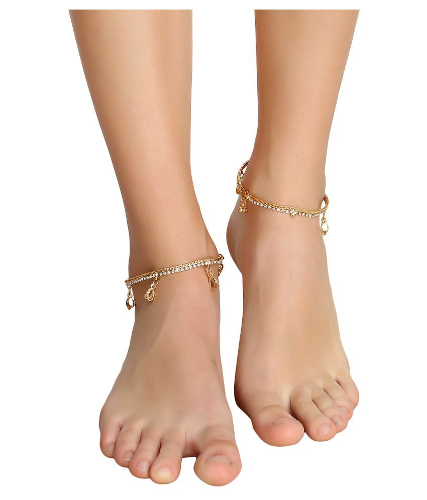 Penny Jewels Alloy Gold Plated Beautiful Unique Designer Beautiful Anklet For Women S Girls