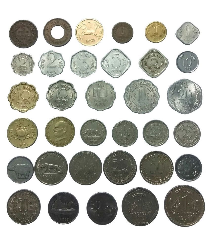 Extremely Rare British India & Republic India 1/2 Pice to 1 Rupee 34 Different Types Of Coins Collectible Item Rare