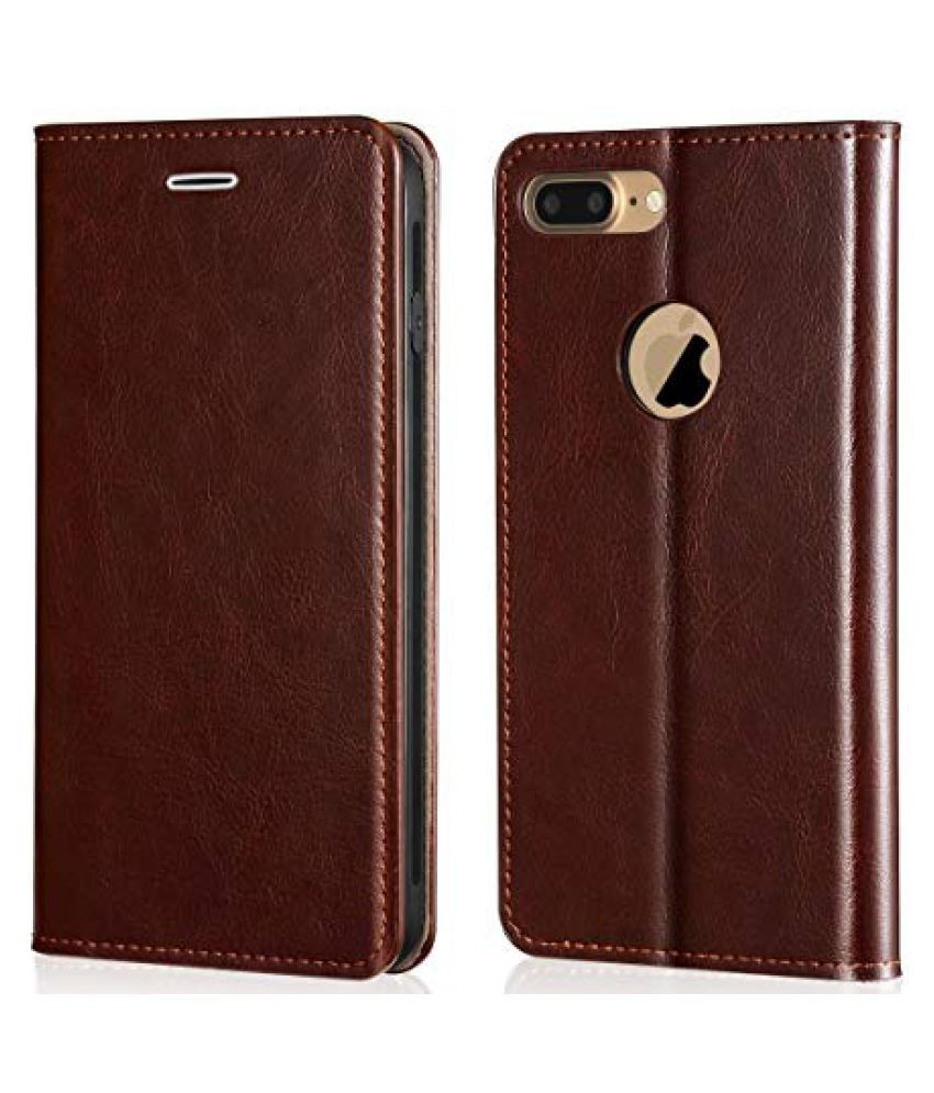 Apple iPhone 7 Plus Flip Cover by Wow Imagine   Brown