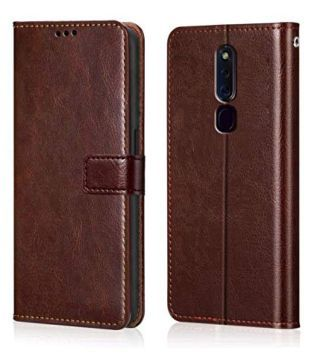 OPPO F11 Pro Flip Cover by Wow Imagine   Brown