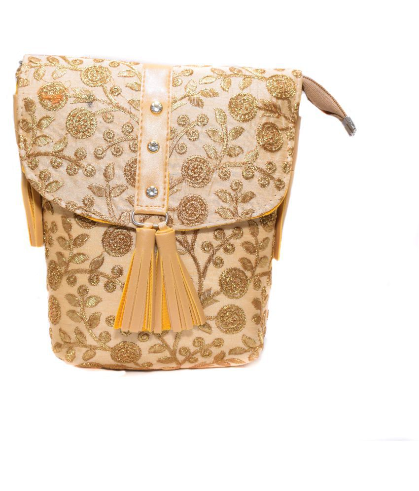 gurukripa traders Gold Fabric Sling Bag