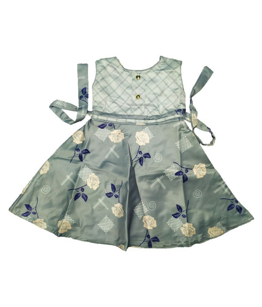 Baby Boon Grey Satin Floral Print Cotton Frock for Babies and Kids [ 2-9 Years] (28)