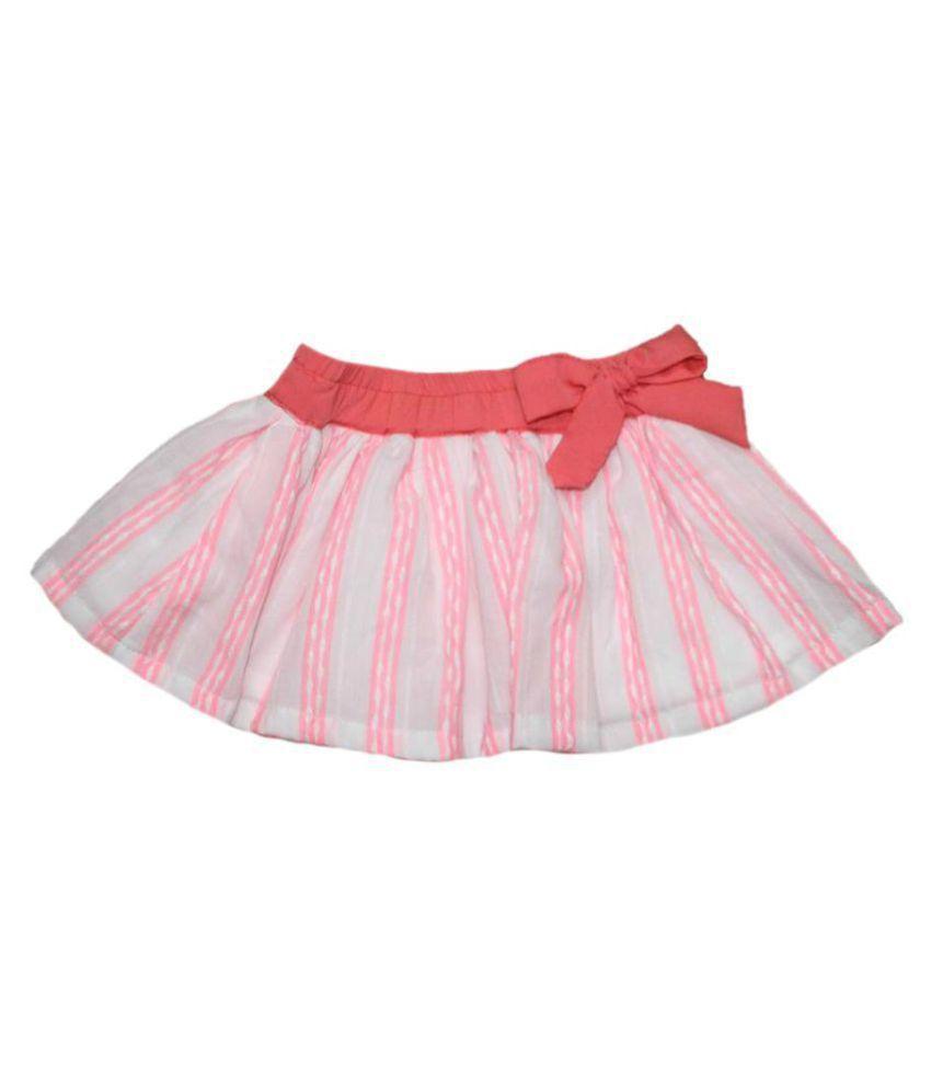 Krivi Kids Pink & White Color Cotton Skirt  For Girl Baby.