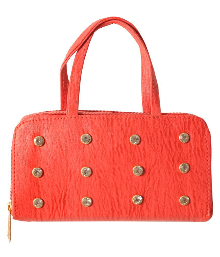 Meerwal Red Faux Leather Handbags Accessories
