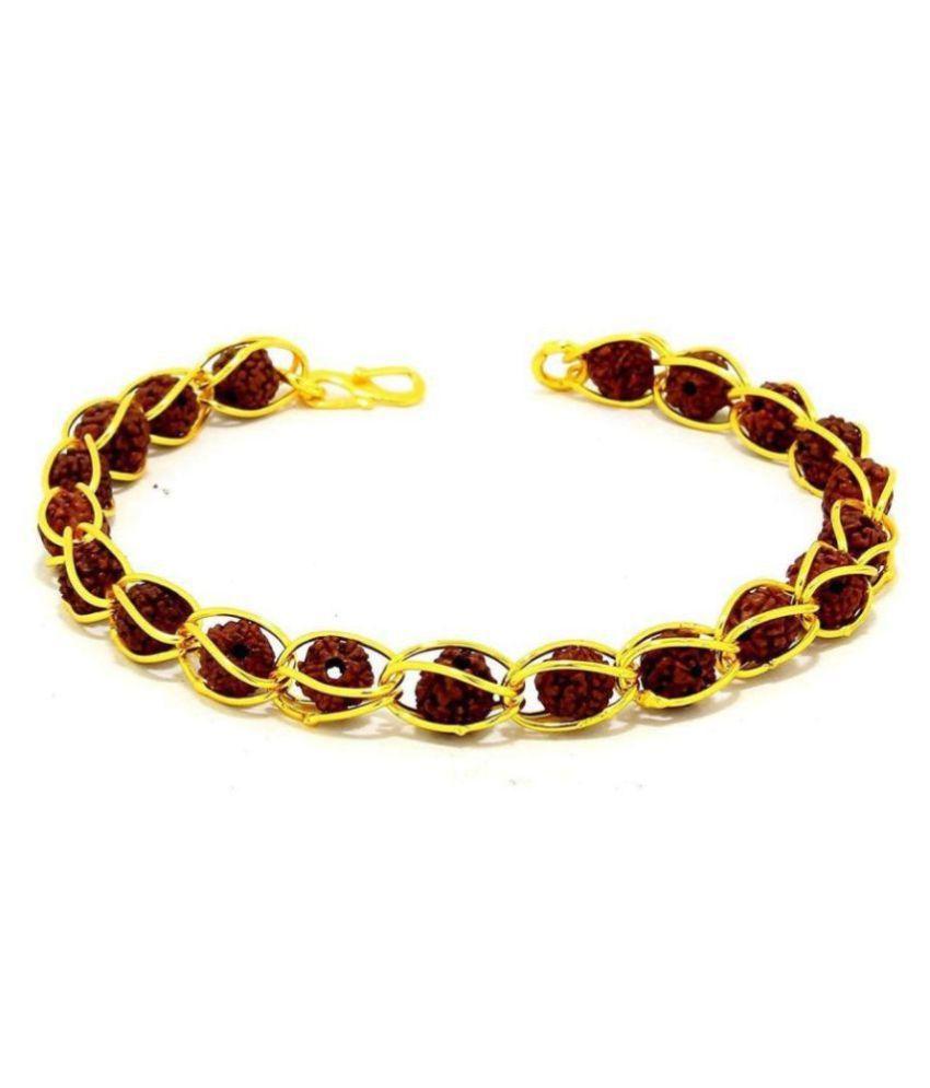5 Mukhi 8.5 MM Rudraksha Bracelet with Golden Colour Brass Cap