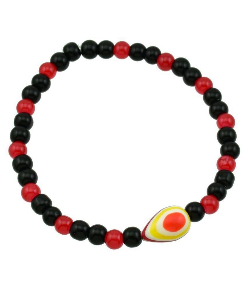 High Trendz Designer Black Beads Turkish Evil Eye Strechable Anklet