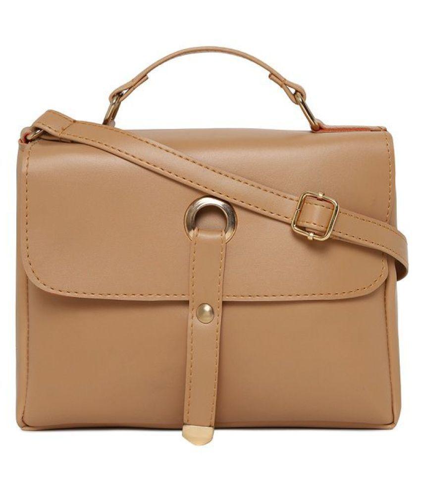 Aliado Beige Synthetic Casual Messenger Bag