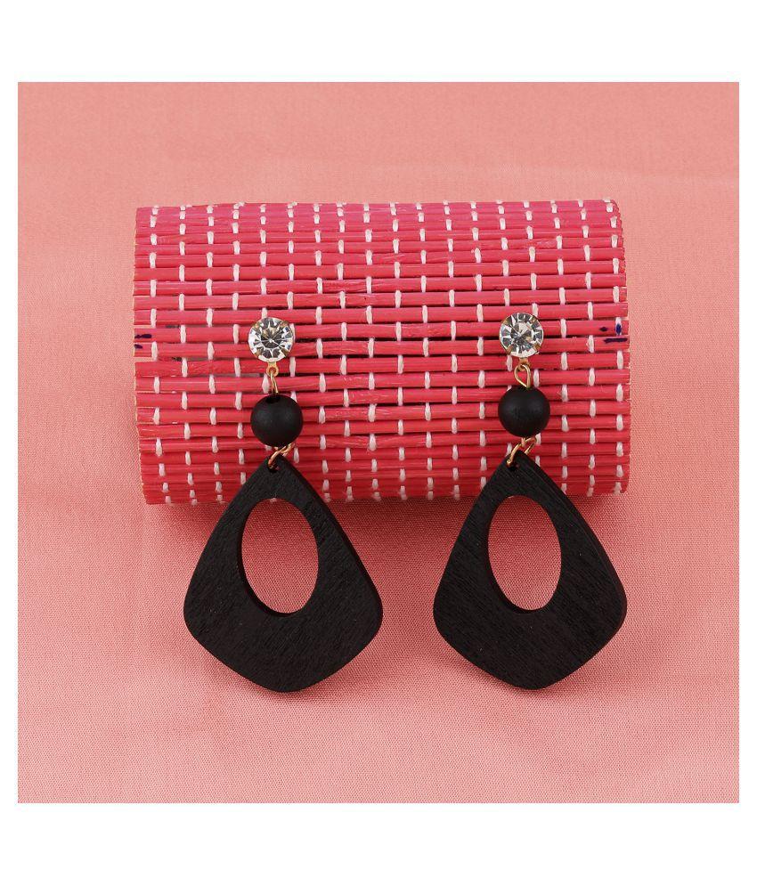SILVER SHINE Stylish Dangler Diamond Wooden Earrings  Light Weight For Girls and Women