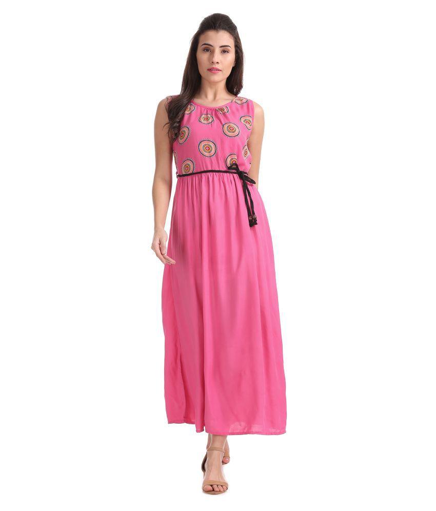BRONZ Rayon Pink Regular Dress