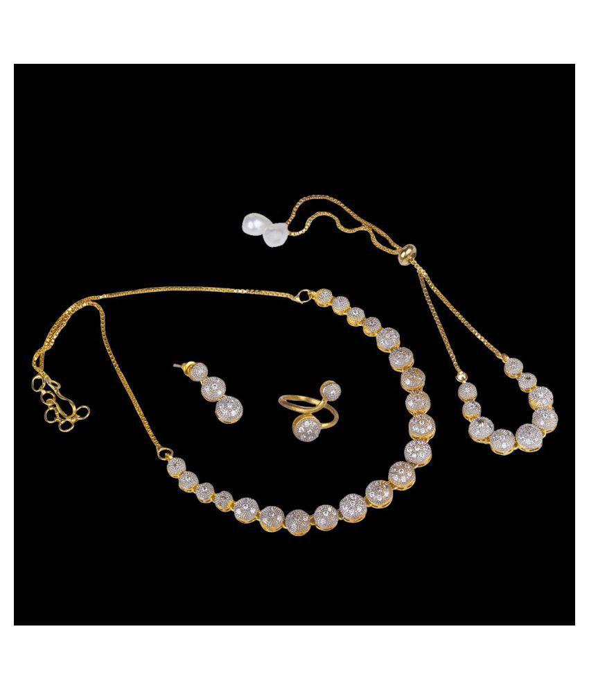 Piah Brass Silver Designer Necklaces Set Choker