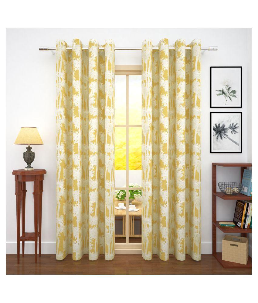Story@Home Set of 2 Door Blackout Room Darkening Eyelet Jute Curtains Mustard