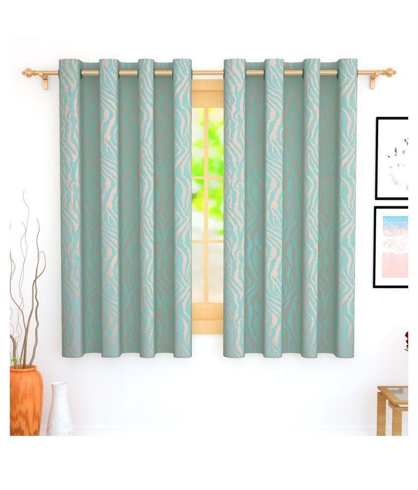 Story@Home Set of 2 Window Blackout Room Darkening Eyelet Jute Curtains Blue