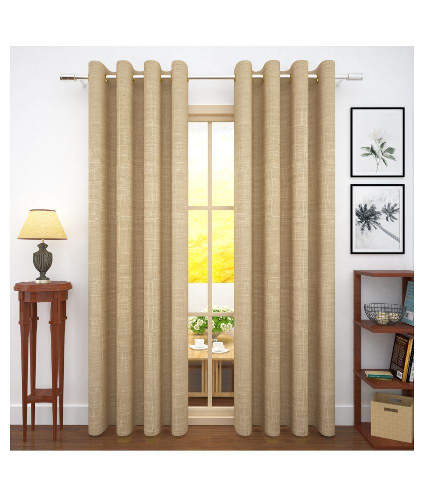 Story@Home Set of 2 Door Blackout Room Darkening Eyelet Jute Curtains Beige