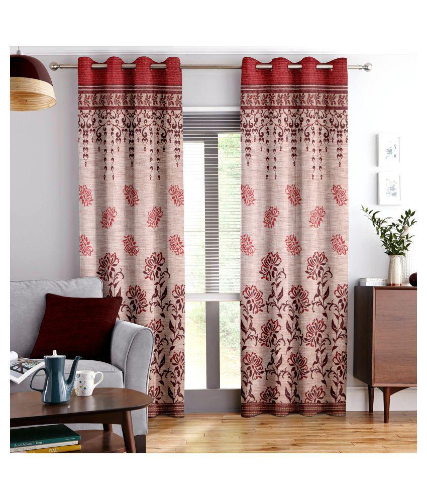 Story@Home Set of 2 Window Blackout Room Darkening Eyelet Jute Curtains Red