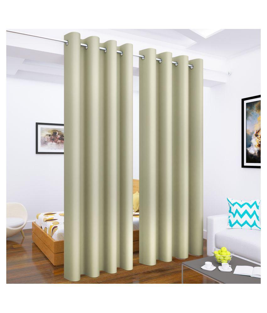 Story@Home Set of 2 Long Door Blackout Room Darkening Eyelet Silk Curtains Beige