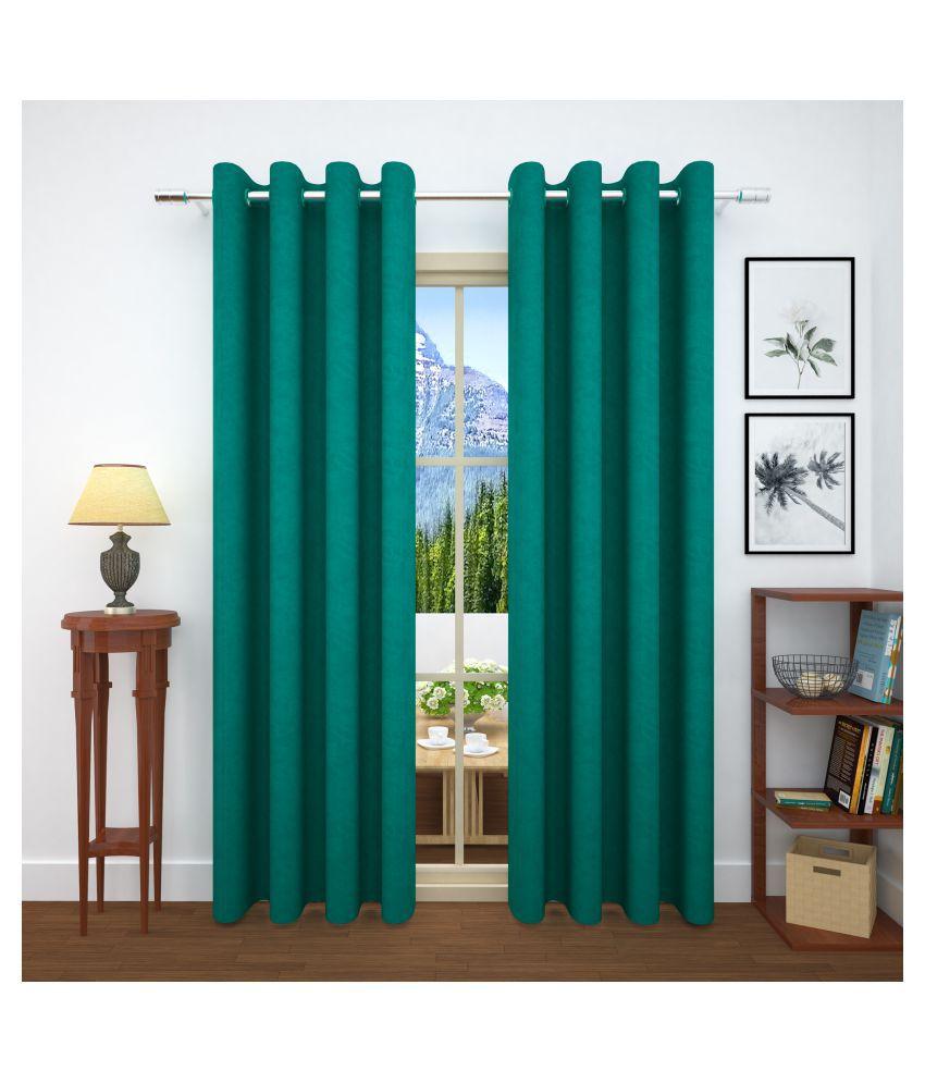 Story@Home Set of 4 Door Blackout Room Darkening Eyelet Jute Curtains Turquoise