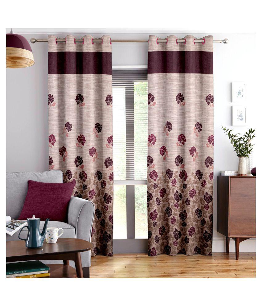 Story@Home Set of 4 Long Door Blackout Room Darkening Eyelet Jute Curtains Maroon