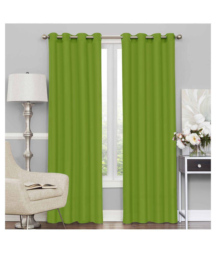 Story@Home Set of 4 Door Blackout Room Darkening Eyelet Silk Curtains Green