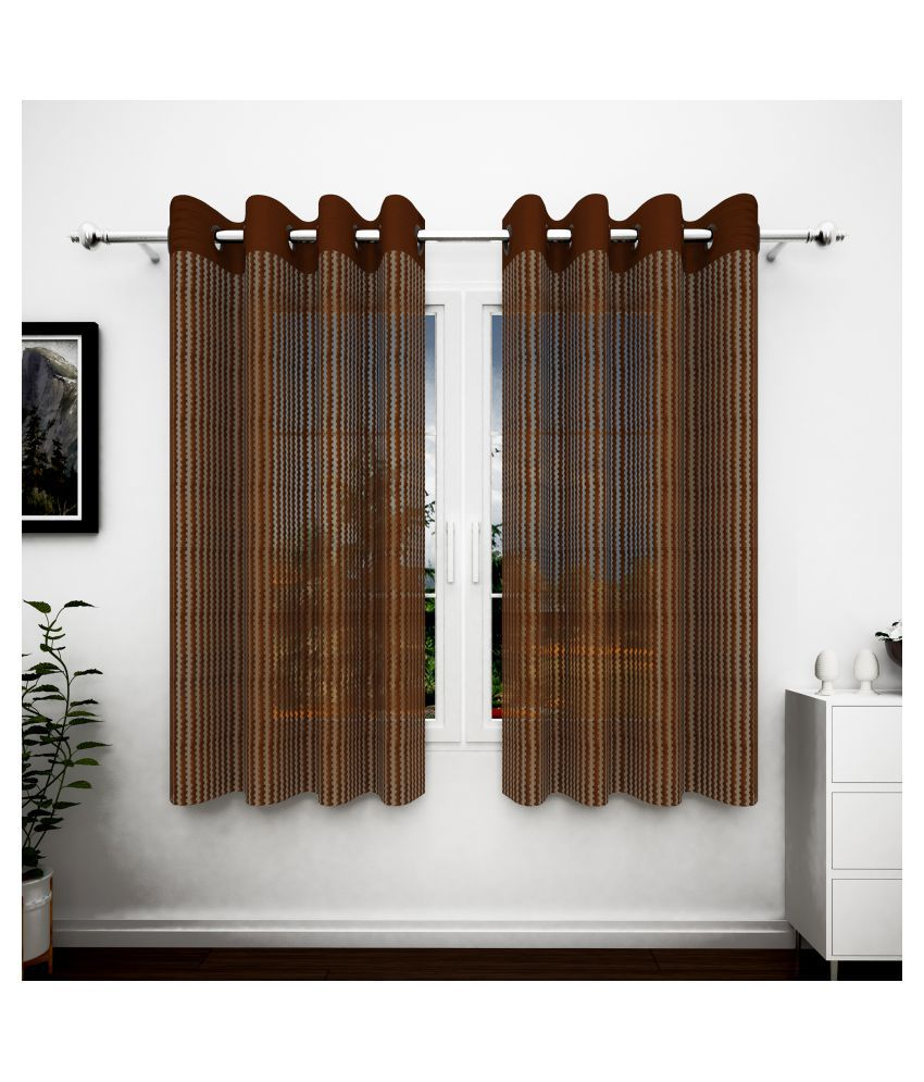 Story@Home Set of 4 Window Semi-Transparent Eyelet Polyester Curtains Brown