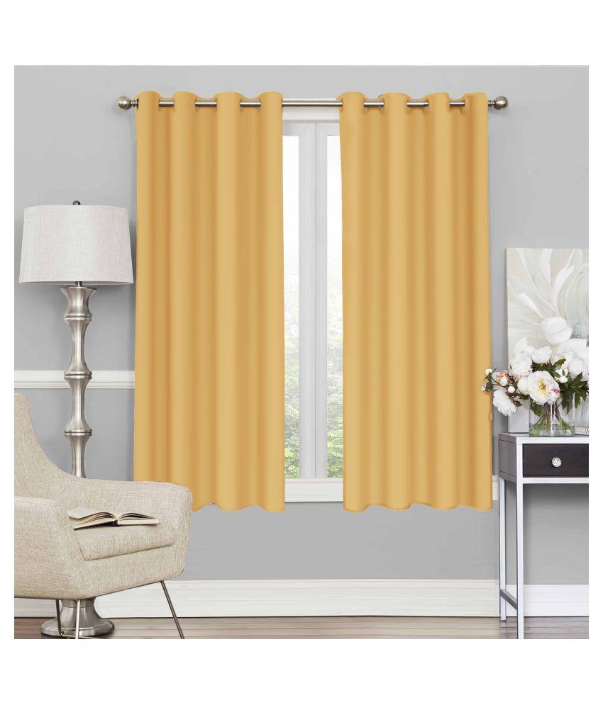 Story@Home Set of 4 Window Blackout Room Darkening Eyelet Silk Curtains Yellow