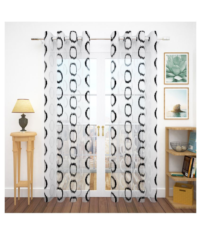 Story@Home Set of 4 Door Semi-Transparent Eyelet Polyester Curtains Black
