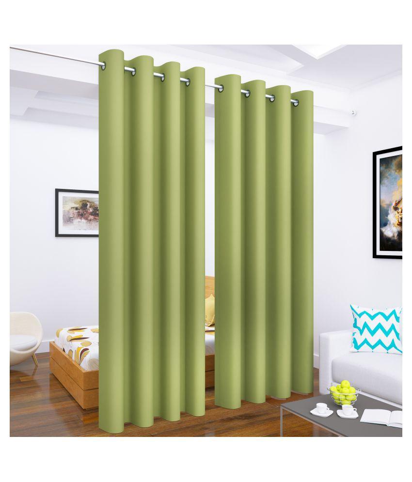 Story@Home Set of 4 Long Door Blackout Room Darkening Eyelet Silk Curtains Green