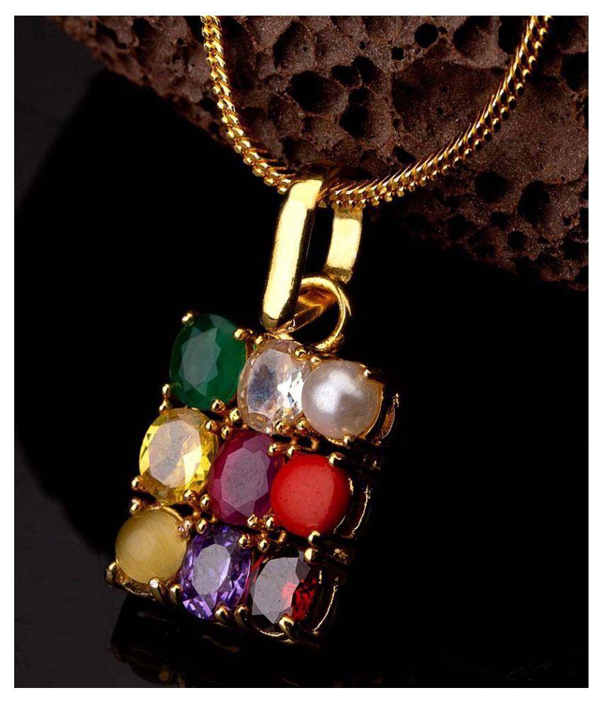 Dare by Voylla Navratan Extension Gold Plated Pendant