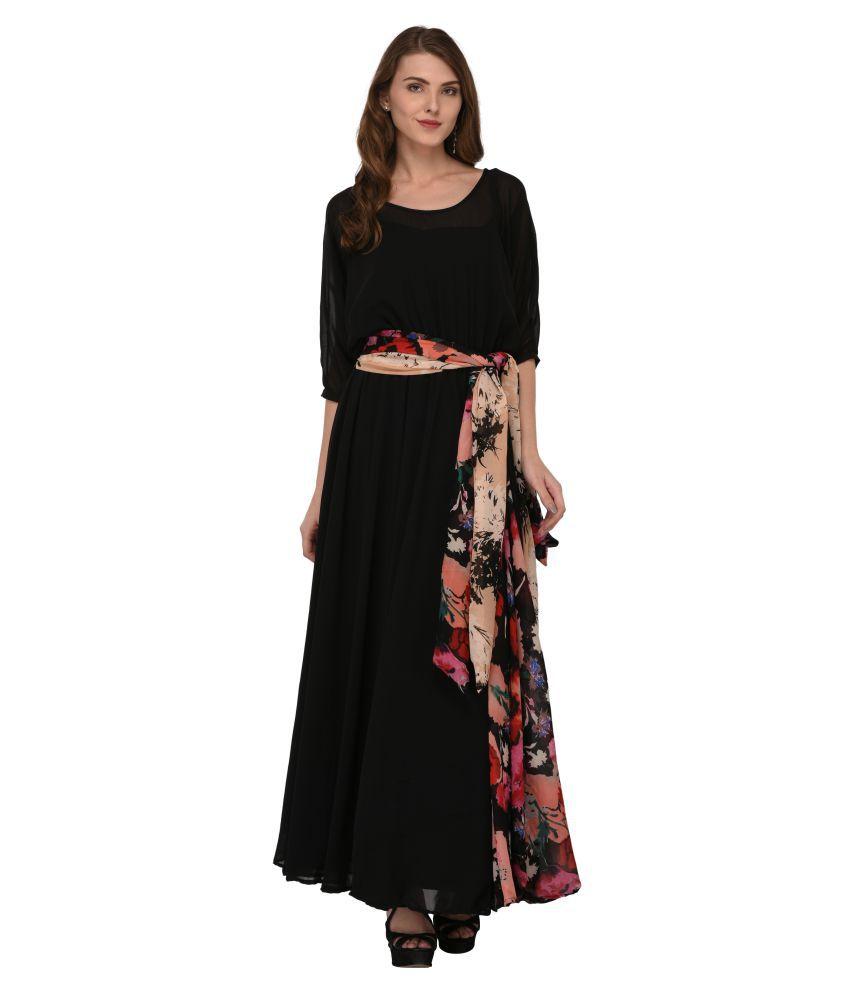 Nikhar Georgette Black Regular Dress