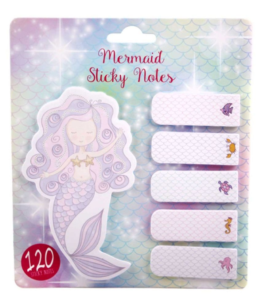 R H lifestyle GORGEOUS Set of Multicolored Mermaid Themed Memo Pads with 1 JUMBO Sticky Notes + 5 MINI Page Markers TABS (120 STICKIES)