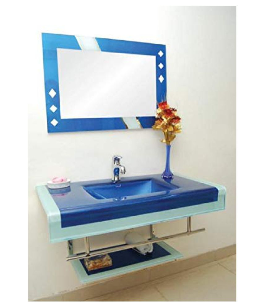 ARVIND SANITARY Blue Toughened Glass Wall Hung Wash Basins
