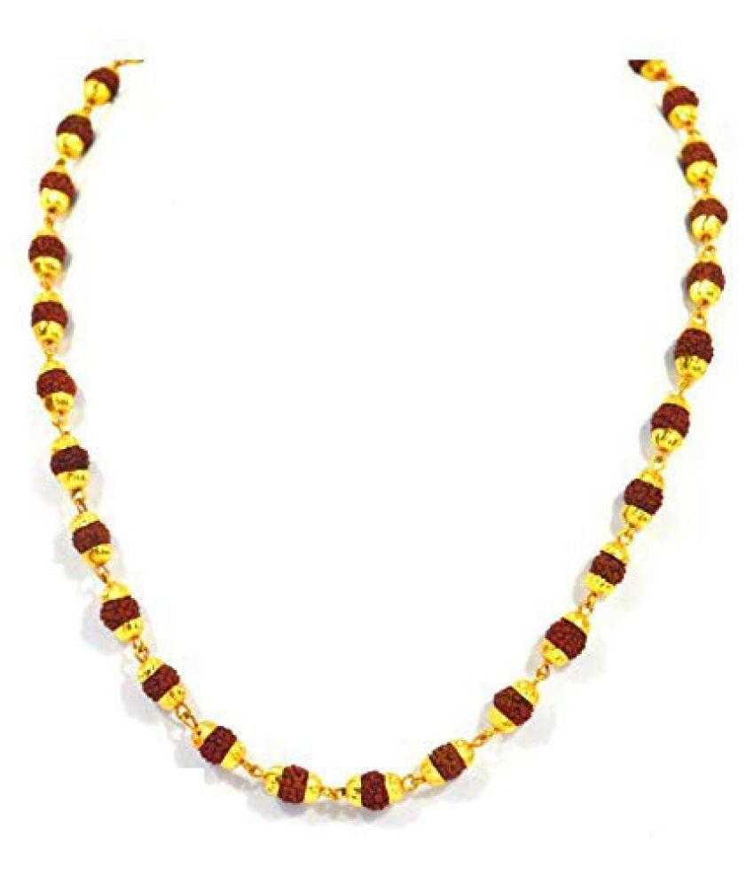 Kanha Ji 100% Natural 54+1 Beads Rudraksha Mala with Golden Cap Hindu Meditation Yoga Mala Rudraksha Mala for Men/Women 6MM