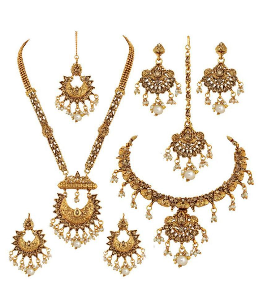 LUCKY JEWELLERY Alloy White Other Designer Gold Plated Necklace set Combo
