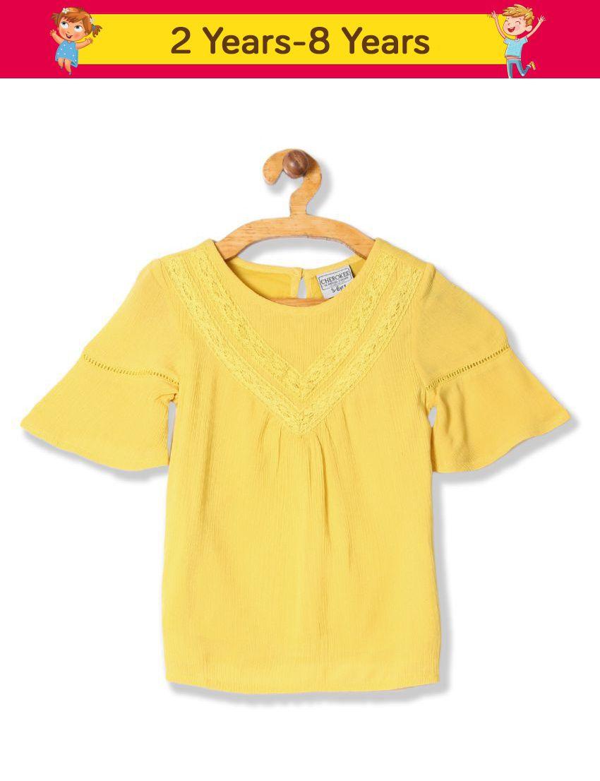 Cherokee Girls Bell Sleeve Crinkled Top
