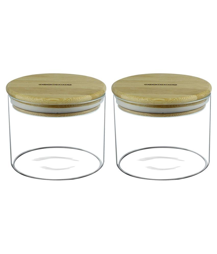 Protetto with Bamboo Lid Glass Pickle Container Set of 2 500 mL