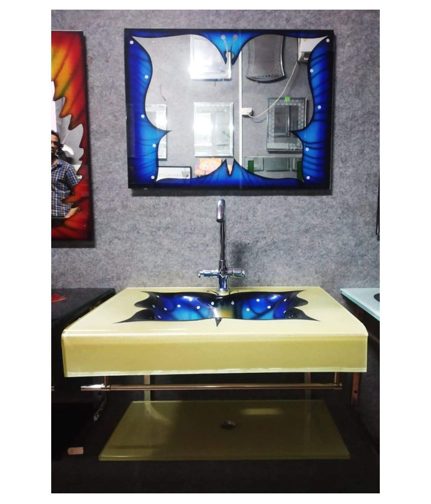 ARVIND SANITARY PVT LTD Blue Toughened Glass Wall Hung Wash Basins