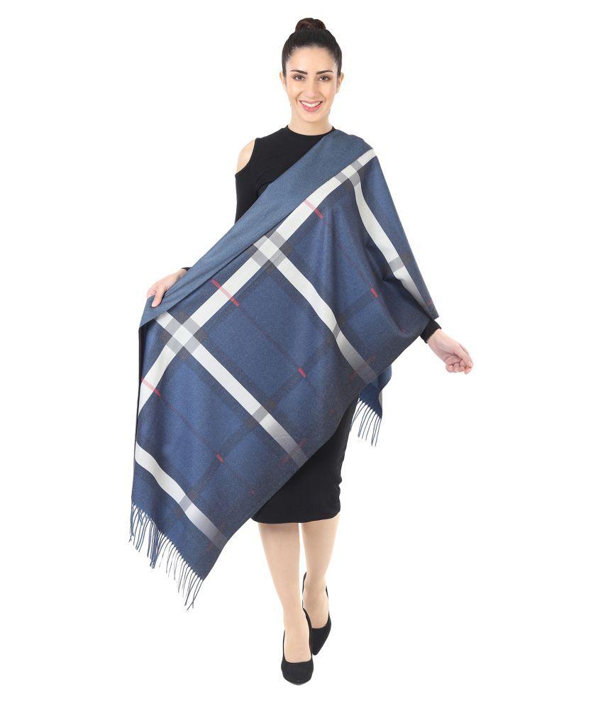 Innayya Blue Checkered Shawl